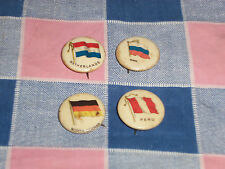 f. 4 Late 1800's Flag Pins Gum Cigarettes Russia North German Netherlands Peru