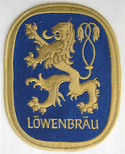 Lowenbrau Lion Beer Patch Large 5 by 6 1/2 vtg Blue and Gold New Old Stock NOS