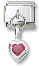 Italian Charm Red CZ Sterling Silver Dangle Heart July 9 mm Stainless Steel Link