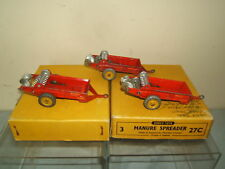 DINKY TOYS MODEL No.27c  3 x MANURE SPREADERS IN TRADE BOX