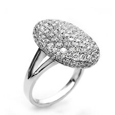 Elegant Silver Plated Oval Rhinestones women ring size small M 16 mm FR179 -6