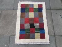 Traditional Hand Made Persian Gabbeh Oriental Wool Brown Grey Small Rug 90x65cm