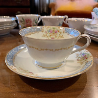 """Noritake Occupied Japan """"Fiesta"""" teacup and saucer perfect cond blue gold floral"""