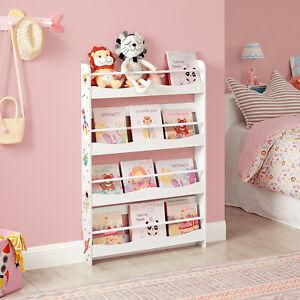 SONGMICS Kinderregal 4 Ablagen Bücherregal für Kinder Wandregal Bücher-Organizer