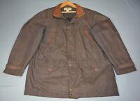 Woolrich - Field Coat Oil Cloth Cotton Blend Brown w Corduroy Collar - Size L*
