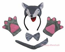 Halloween Party Gray Grey 3D Wolf Adult Headband Paw Tail Bow Animal Costume Set