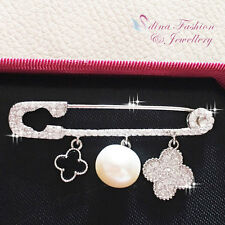 925 Sterling Silver AAA Grade CZ Safety Pin 4 Leaf Clover Shell Pearl Brooch