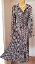 BNWT Black Gold Belted Floaty Button Down Summer Tea Party Shirt Dress - Size 14