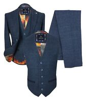 Cavani Mens Navy Blue Wool Herringbone Check Tweed Retro Blazer Jacket Waistcoat