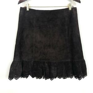 Anthropologie Elevenses Womens Size 8 Brown Leather Skirt (Act 32W)