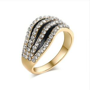 Ring Rhinestone Diamond Golden And Black Wave Line Asymmetry Woman Girly Fashion