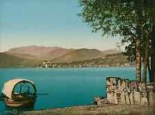 Lago d'Orta. PZ vintage photochromie, photochrom photochromie, vintage photoch