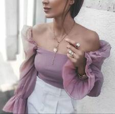 Zara Pink Combined Organza Sleeve Top Size S