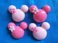 20 Resin Mouse Head Dots Bow W/Flower Rhinestone Flatback-2 color B088