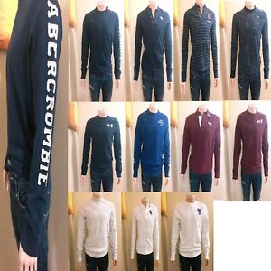 NWT Abercrombie Fitch Hollister Mens Logo Long Sleeve Henley Crew Tee SMLXLXXL