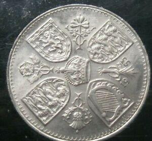 1953 Queen Elizabeth 5 shilling Coronation coin in case