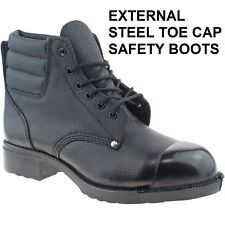 Grafters M492a Mens Leather SB HRO Ankle Heat Resistant Safety BOOTS Black UK 10