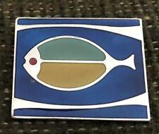de PASSILLE SYLVESTRE Signed BROOCH Modernist Design Cobalt BLUE Enamel FISH