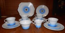 Shelley China Art Deco Regent Tea Set Black Blue Swirl 15 Pieces Rare Pattern