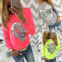 Fashion Women's Heart Glitter Long Sleeve Shirt Tops Casual Blouse Loose T-Shirt
