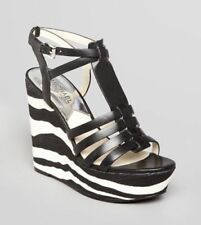 NEW MSRP $175 - MICHAEL Michael Kors GEORGIE ZEBRA PLATFORM HIGH HEELS, Black 9M