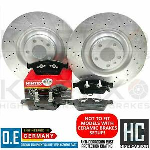 FOR AUDI A8 S8 FRONT CROSS DRILLED BRAKE DISCS MINTEX PADS & WIRE SENSORS 385mm