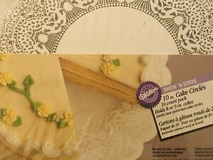 """Set of 10 Wilton Show 'n Serve 10"""" Cake Circles with White Lace Pattern Boards"""