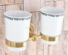 Gold Color Brass Wall Mounted Bathroom Toothbrush Holder with 2 Ceramic Cups
