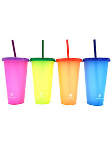 MANNA 4 Pack Color Changing Reusable Tumblers w/ Lids & Straw Set - 24oz 710mL