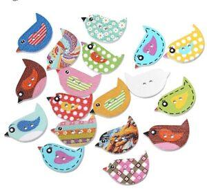 Mixed Bird Natural Wooden Wood Buttons Zakka Sewing Craft 5 10 20 50 100