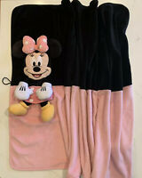 Disney Minnie Mouse Security Blanket Folding 3D Baby Blanket Pink Black Toy