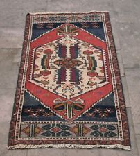 Handmade Blue Red Turkish Vintage Geometric Small Size Rug, 1.9x4.07 ft