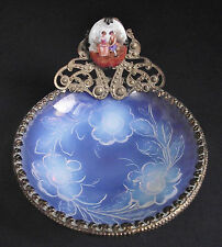 French Opalescent Art Glass Bowl Trinket Dish Painted Miniature Porcelain Scene