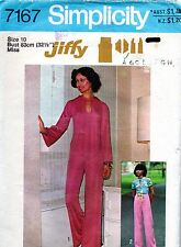 1970s Simplicity Sewing Pattern 7167 Jiffy Pants Keyhole Opening Top size 10