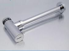 Bathroom SOLID BRASS Basin Sink Tap Bottle Waste Trap Drain Kit - Chrome P-TRAP