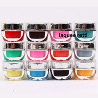 Nail Art 12 Colors Solid Pure UV Gel For UV Builder Lamp Brush Pen Forms New Kit