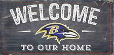 "Baltimore Ravens Welcome to our Home Wood Sign - NEW 12"" x 6""  Decoration Gift"