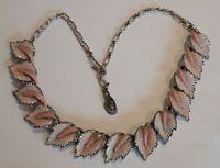 Vintage Hollywood Silver tone And Enamel leaf design Necklace