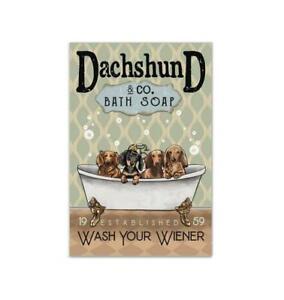 Dachshund & Co Bath Soap Wash Your Wiener - Bathroom Decor - Poster No Frame