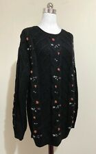 Vintage 80s 90s? Womens Pure New Wool Jumper Size L Cable Knit Black Floral <3