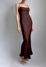 ac882ccbf6544 GUCCI Dark Brown 100% SILK Spaghetti Minimal Slip Maxi Gown Dress Sz 38 XS