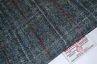 Harris Tweed Fabric & Labels GREY TARTAN RED LINE  craft upholstery tailoring