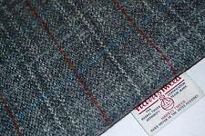 Harris Tweed Fabric & Labels GREY TARTAN craft upholstery tailoring quilting