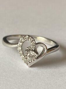 14k Solid White Gold Heart Diamonds Ring