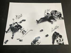 STAN JONATHAN JOHN WENSINK TERRY O'REILLY AUTOGRAPHED FIGHT 16X20 PHOTO SIGNED