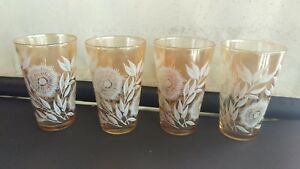 X4 vintage carnival glass tumblers with white flower design