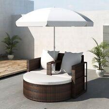 Garden Poly Rattan Sun Lounge Bench Parasol Set Sofa Bed Outdoor Wicker Brown