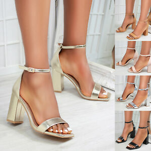 New Womens Barely There Block Heel Square Toe Sandals Shoes Sizes 3-8