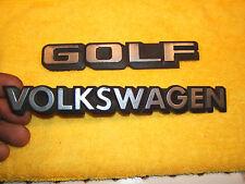VW 1985 GOLF 4 door Rear deck lid Silver / black Plastic OEM 1 set of 2 Emblems