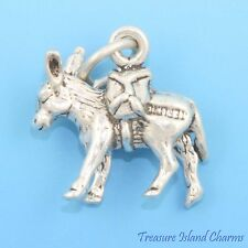 Pack Donkey Mule 3D .925 Solid Sterling Silver Charm MADE IN USA